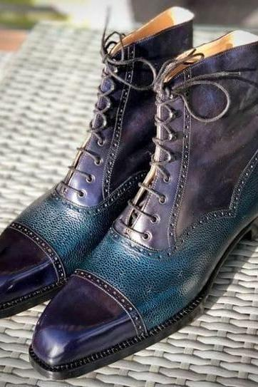 Handmade Blue Leather Cap Toe Pebbled Leather Ankle Lace Up Dress Boot,Men's Boot