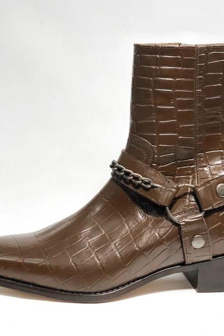 Handmade Brown Alligator Leather Madrid Straps Boot,Dress Boot,Men's Boot