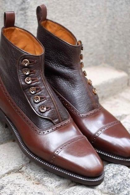 Handmade Brown Leather Cap Toe Ankle Button Top Dress Boot,Men's Boot