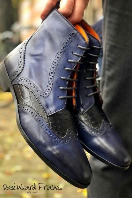 Handmade Multi Color Wing Tip Ankle Lace Up Boot,Men Dress Formal Boot