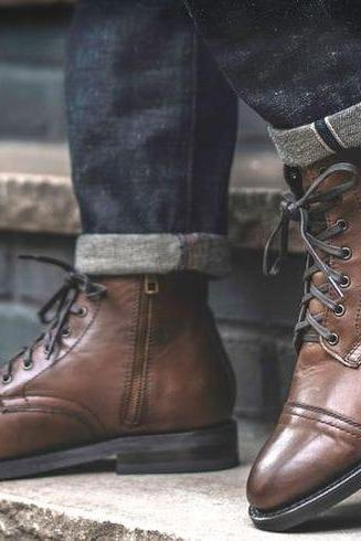 Handmade Vintage Brown Cap Toe Lace Up With Side Ziper Boot,Men's Casual Dress boot