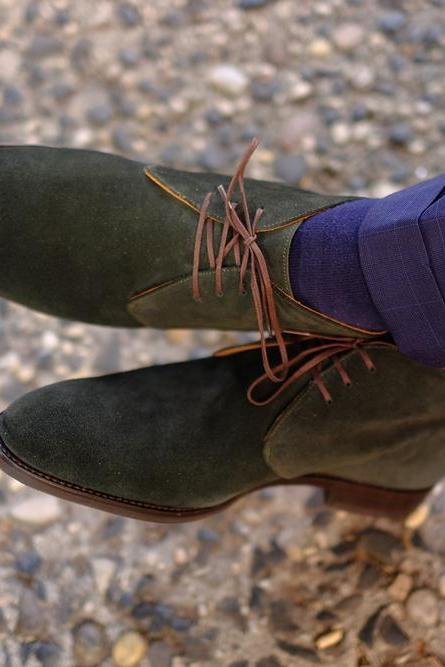 Handmade Half Ankle Olive Green Chukka Lace Up Suede Boot,Men's Dress Boot