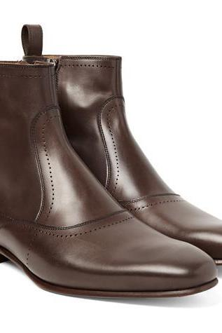 Handmade Men brown ankle leather boot, Men formal leather boot, Men boot/