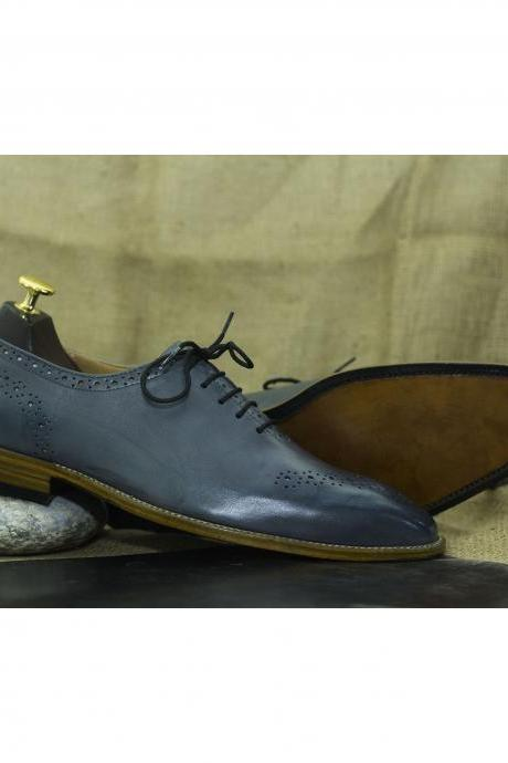 Hand Painted Navy Blue Leather Lace Up Brogue Shoes