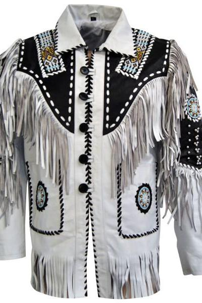 Men's Bluish White Suede Western Cowboy Leather Jacket Fringe Bones : All Size Available