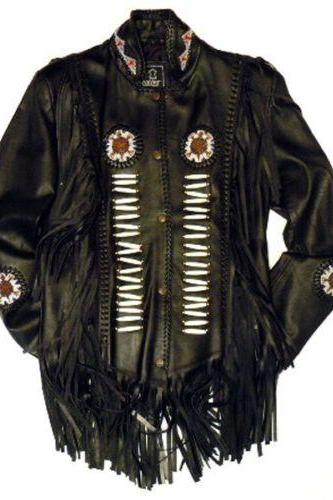 Western LEATHER NATIVE AMERICAN STYLE TASSEL JACKET Men's Women's