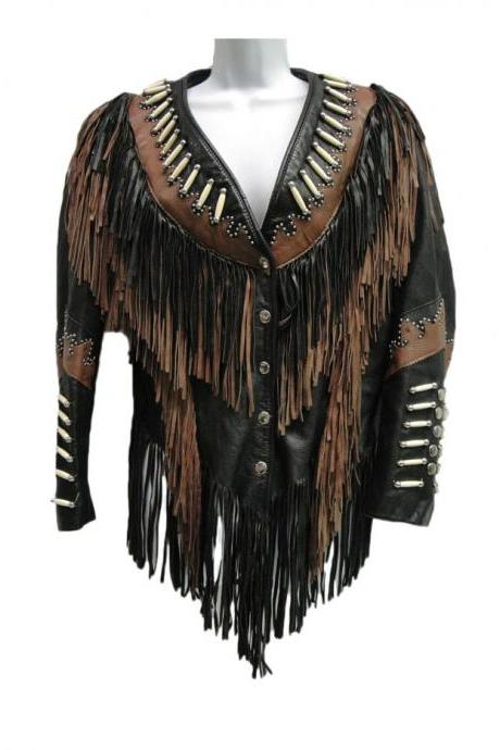 Western Wear Leather Motorcycle Jacket Native American Fringe Coat