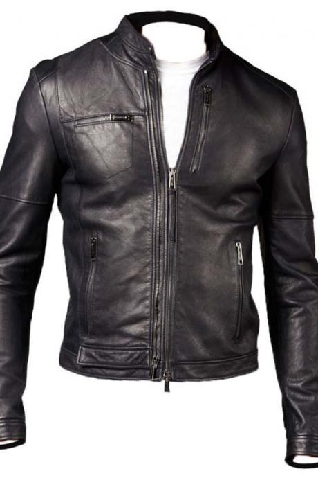 MEN'S SLIM-FIT FASHION LEATHER JACKET ZIPPER POCKET LEATHER JACKETS