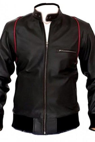 Hand Made Men's Mandarin Collar Black Leather Jacket