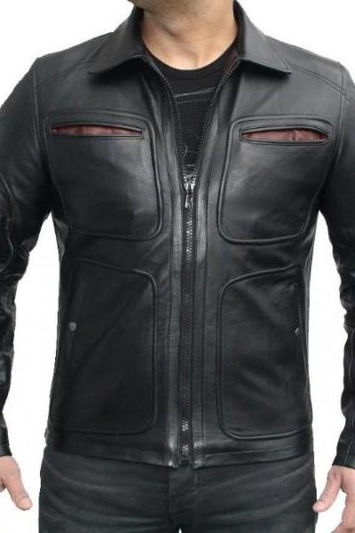 Black Biker Leather Jacket Front Four Pocket