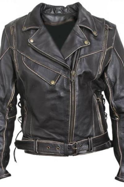 Antique Black Rub-Off Motorcycle Leather Jacket Men's