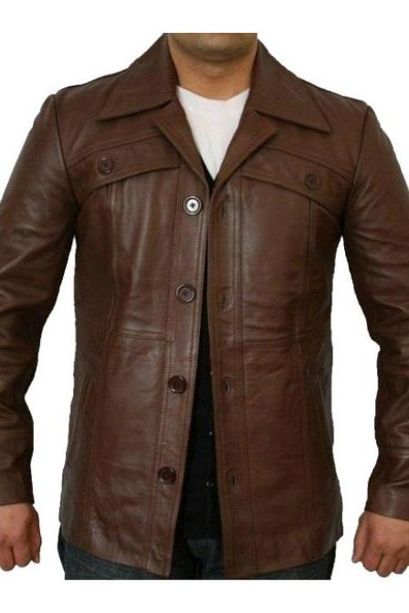 Classic Button Style Antique Brown Leather Jacket Fashion Biker Slim Fit