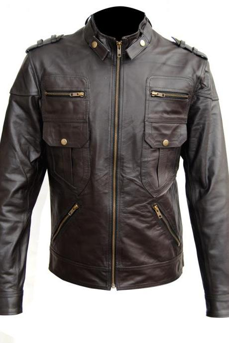 Men Slim Fit Black Leather Jacket, Men's Leather jacket