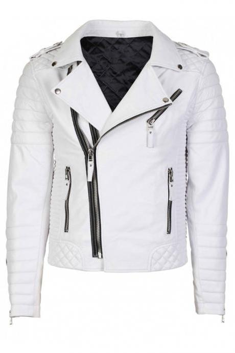 MEN'S WHITE FASHION SLIM FIT LEATHER JACKET FOR MEN'S