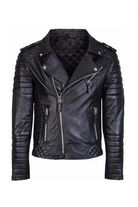 New Men's Stylish Black Biker Jacket, MENS SHEEP LEATHER JACKET