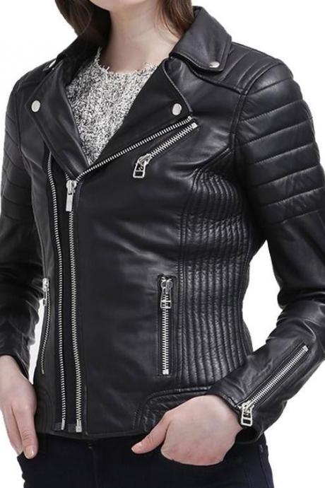 Women's Motorcycle Leather slim fit Biker Jacket , Womens Biker Leather Jacket