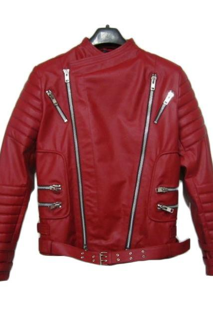 BALMAIN LEATHER RIBBED BIKER JACKET NEW - NEW SPECIAL MEN JACKET