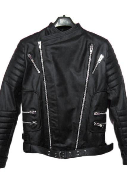 BALMAIN LEATHER RIBBED BIKER JACKET BLACK - NEW SPECIAL MEN JACKET