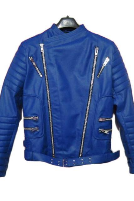 BALMAIN LEATHER RIBBED BIKER JACKET BLUE - NEW SPECIAL MEN JACKET