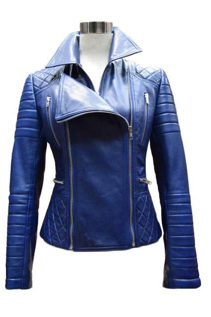 Custom made Leather Jacket Biker Jacket Blue Jacket, Womens Leather jacket