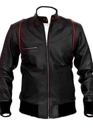Leather Mandarin Collar Black Leather Jacket, , Mens Leather jacket