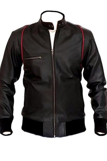 Mandarin Collar Black Leather Jacket, Mens Leather jacket