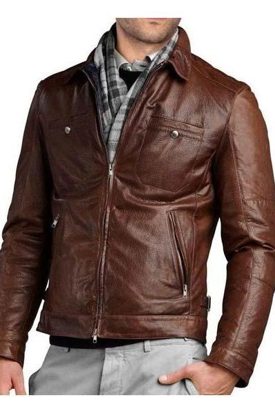 Slim Fit Biker Motorcycle Genuine Lambskin Jacket, Mens Leather jacket