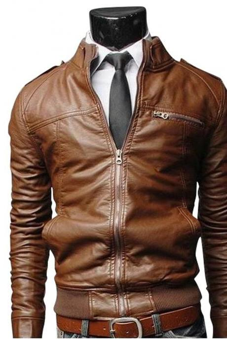 Men Brown Bomber Slim Fit Leather Jacket, Mens Leather jacket