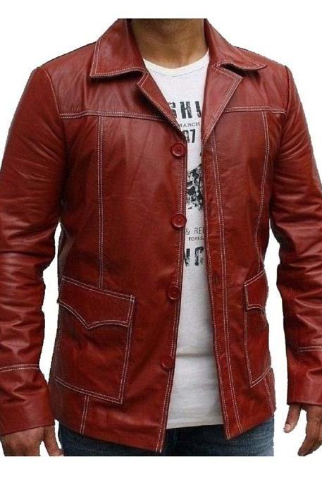 Fight Club Genuine Leather Jacket Red Strike1, Mens Leather jacket