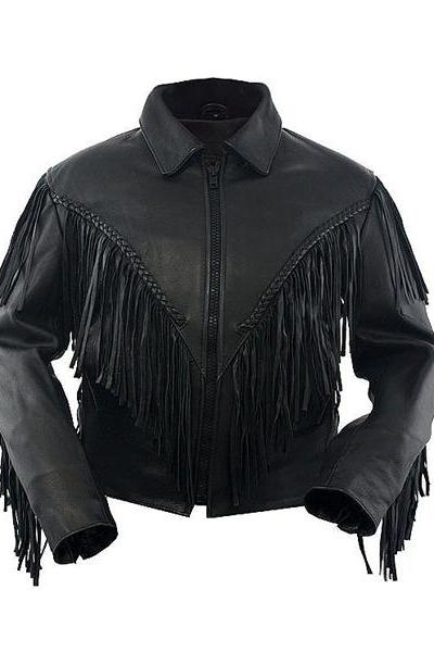 Western Women Black Leather Motorcycle Jacket, Women's Leather Ladies Fringe Jacket