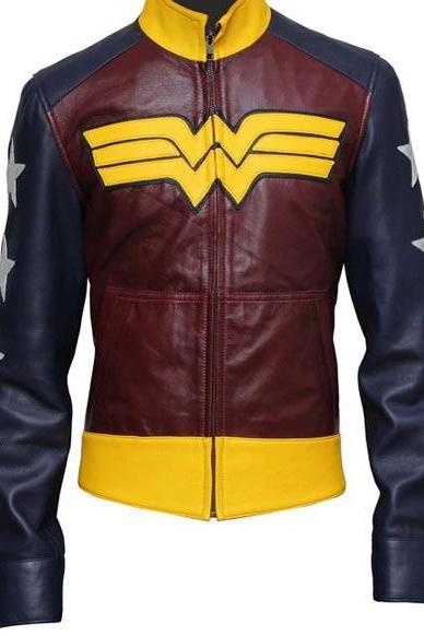 Wonder Woman Sheep Leather Jacket , Womens Biker Leather Jacket