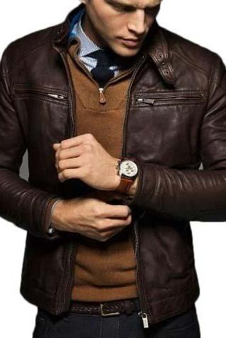 MEN'S SLIM FIT LEATHER JACKET, MEN LEATHER JACKET