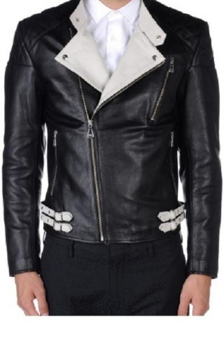 MEN'S BIKER BLACK/WHITE LEATHER JACKET, Mens Leather jacket