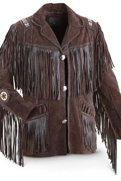 Men's Bluish Brown Suede Western Cowboy Leather Jacket Fringe Bones