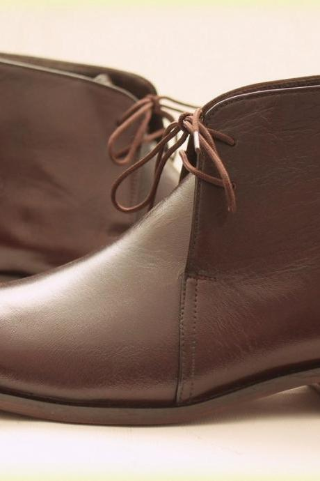Handmade Mens chocolate BROWN Chelsea Leather Boots