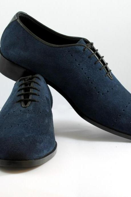 Custom made Mens Blue Chelsea Suede Leather Boots Men leather boot