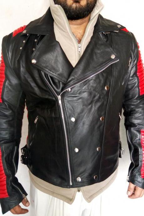 Men's Bailman Style Red Black Red Ribbed Fashion Jacket Mens Leather jacket