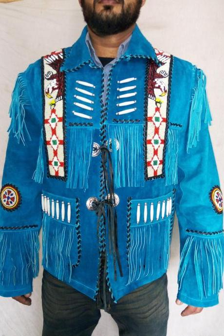 Men Blue Western Fashion Native Suede Jacket Beaded Bones & Fringes