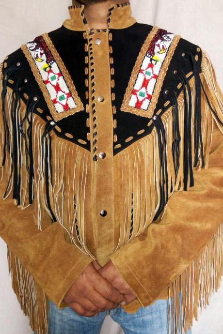 Men Native Western Brown Black Fashion Native Suede Jacket Beaded Bones Fringes