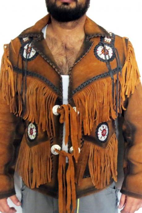 COWBOY BROWN SUEDE WESTERN LEATHER JACKET FRINGE BONES