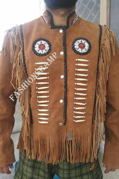 Western Cowboy Native America Leather Jacket Fringe Bone Bead