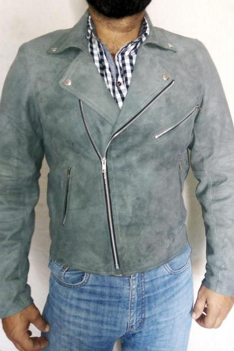 Slim Fit Gray Brando Leather Jacket Men