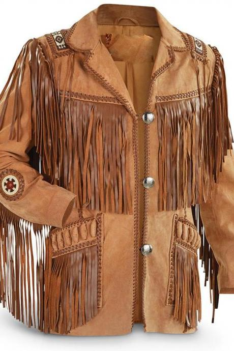 Western Cowboy Brown Scully Suede Jacket Fringe Bone Bead