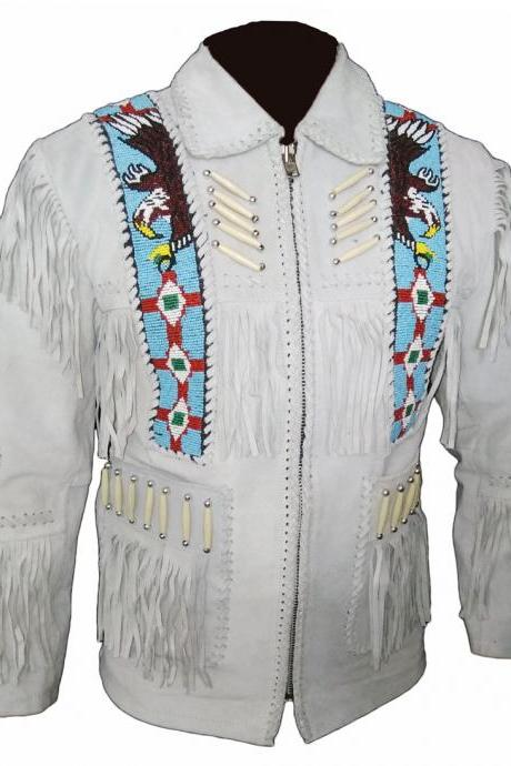 Western Off white scully Cowboy Native jacket Suede Coat Jacket Fringe Bone Bead