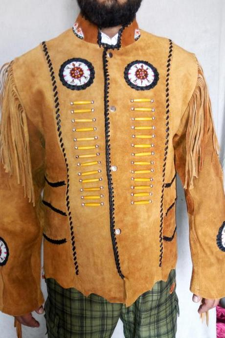 Men Native Tan Brown Native Suede Jacket Beaded Bones & Fringes