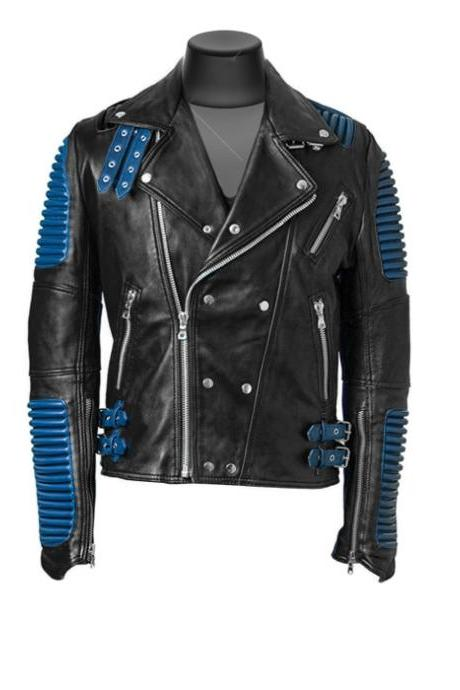 Slim Fit Made to order Biker Style God speed Ribbed Leather Jacket Men