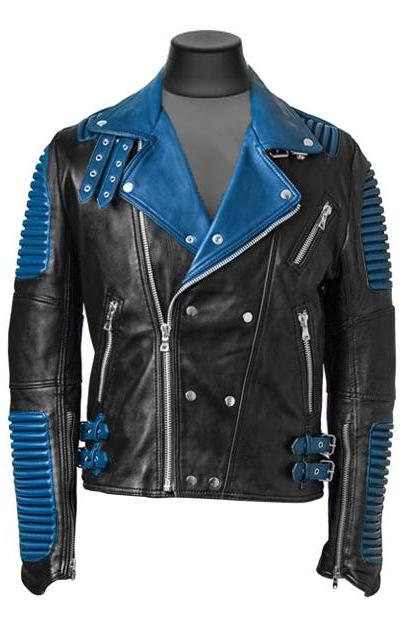Made to order Biker God Speed Ribbed Blue collar Leather Jacket Men