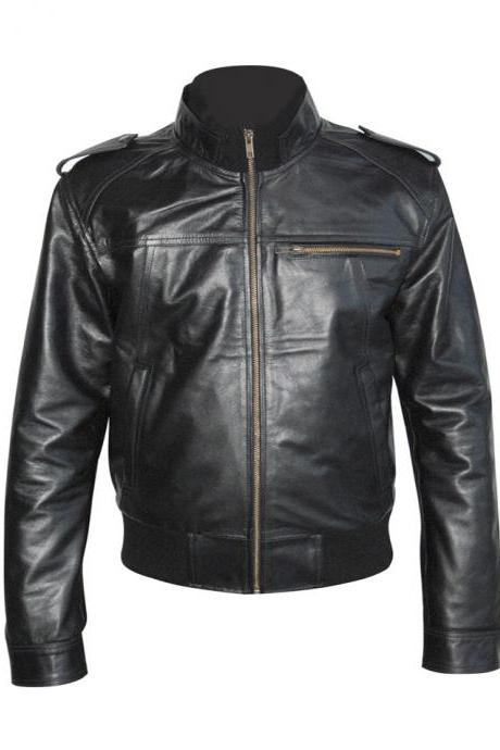 Men Black Bomber Leather Jacket Men