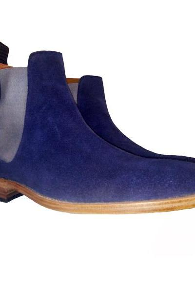 Handmade Mens NAvy Blue Chelsea Suede Leather Boots, Men leather boots