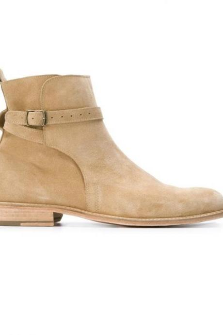 New Hand Made jodhpurs Beige Suede Ankle High Boot Monk Strap Boot